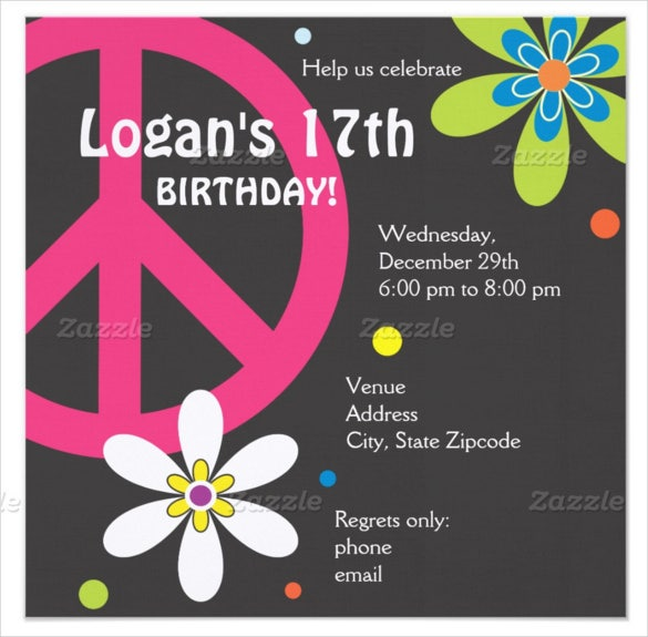 peace sign teenage birthday invitation