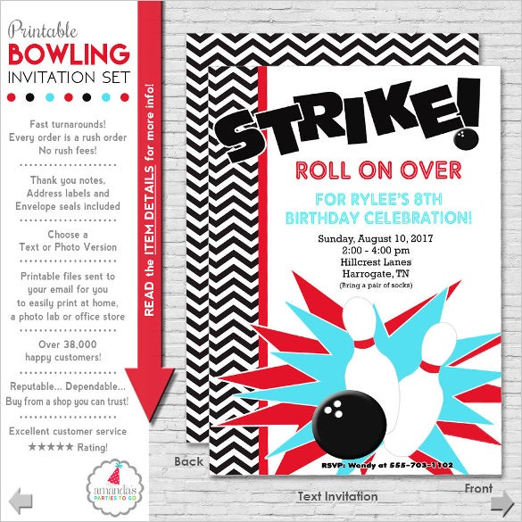 bowling party teenage birthday invitation
