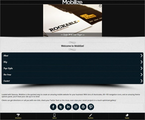 responsive simple mobile wordpress theme
