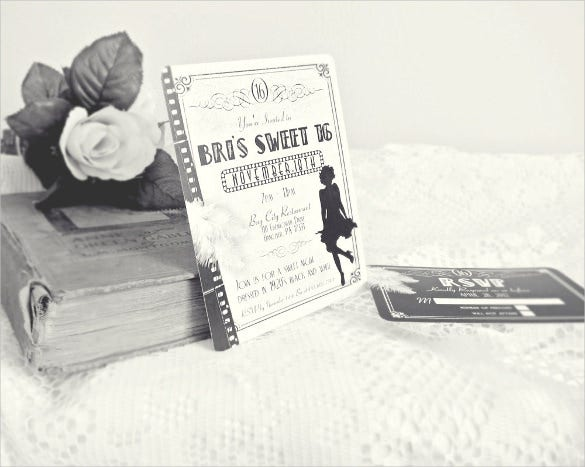 old hollywood black and white vintage flapper teenage birthday invitation