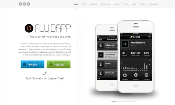 responsive mobile app wordpress theme