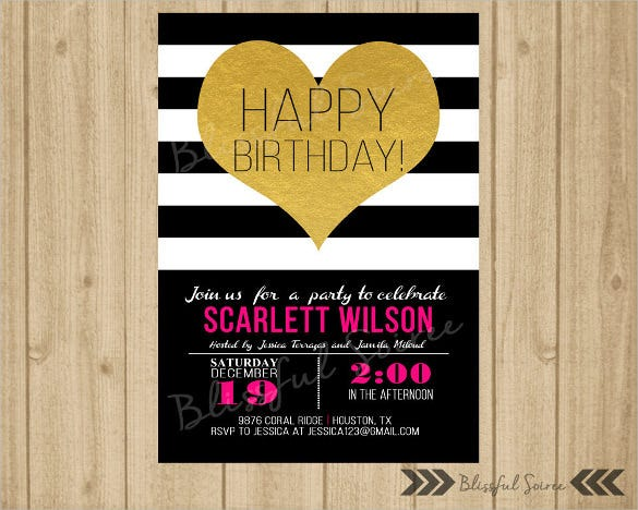 black and gold spade teenage birthday invitation