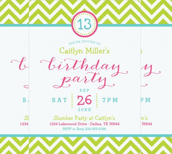 Trendy Zigzag Chevron Teenage Birthday Party Invitation