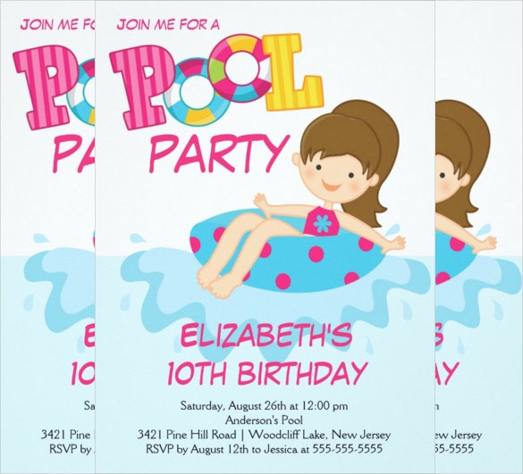 teenage girl birthday summer pool party invitation