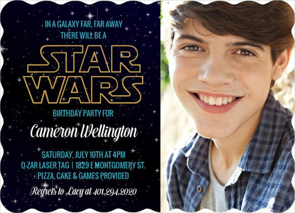 starry sky star wars teenage birthday invitation
