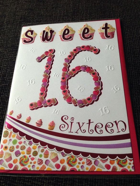 teenage girl 16th happy birthday card