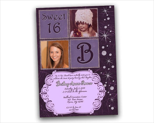 purple bling teenage birthday invitation for girls with custom photo