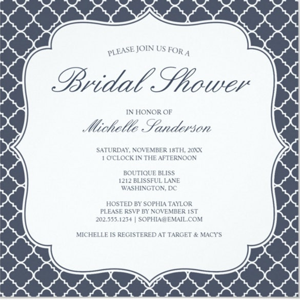 Formal invitation template 31 free sample example format navy quatrefoil bridal shower invitation stopboris Image collections