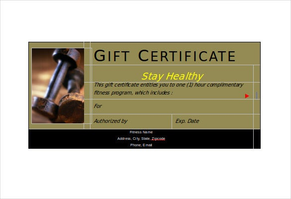 Fitness Gift Certificate Templates 7 Free Word PDF Documents – Fitness Gift Certificate Template