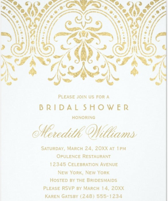 Bridal Shower Invitations Gold Vintage Glamour  Formal Invitations Template