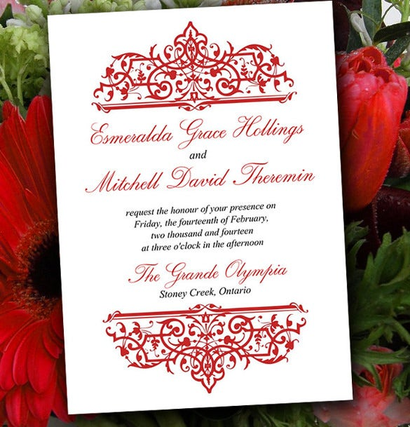 DIY Wedding Invitation Template U2013 Red Invitation Printable Cella Wedding  Formal Invitation Templates Free