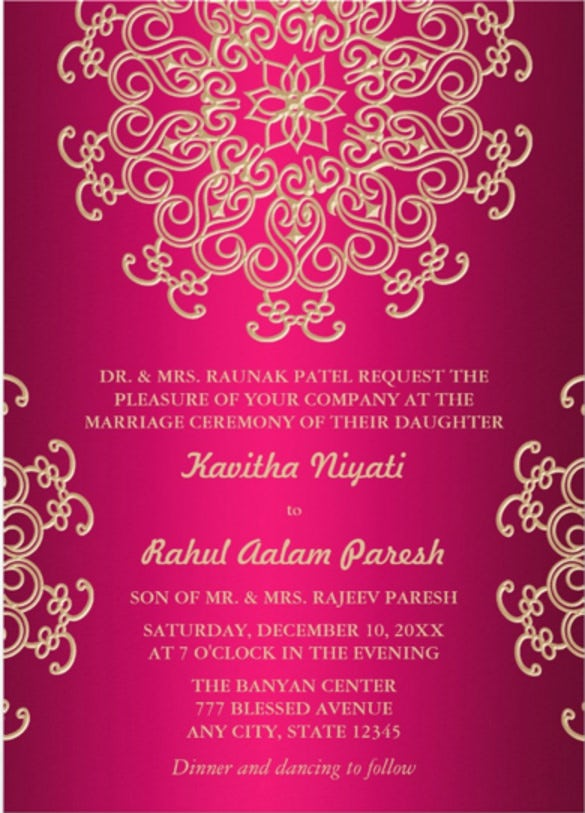 Formal invitation template 33 free sample example format hot pink and gold indian style wedding invitation stopboris Choice Image