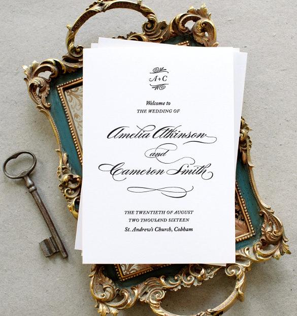 formal printable wedding program pdf traditional type formal calligraphy
