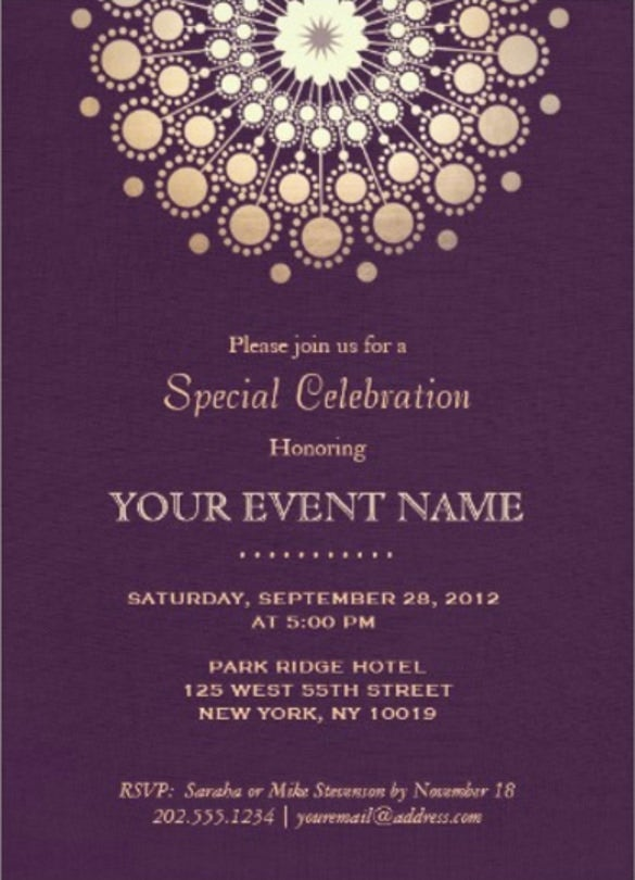 Beautiful Elegant Gold Circle Motif Purple Linen Look Formal Paper Invitation Card With Format For Invitation