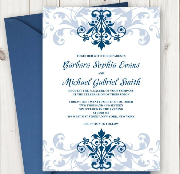 Printable Wedding Invitation Elegant Ironwork With Ornaments In Navy Blue