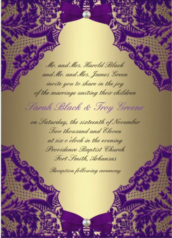 21 Formal Invitation Templates Free Sample Example Format – Gold and Purple Wedding Invitations