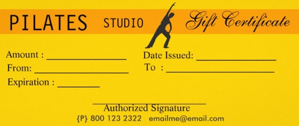 yellow colour fitness gift certificate template download