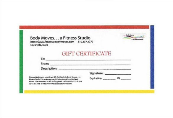 Fitness Gift Certificate Templates   Free Word Pdf Documents