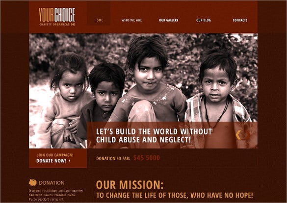 red charity blog for poor people drupal temlate