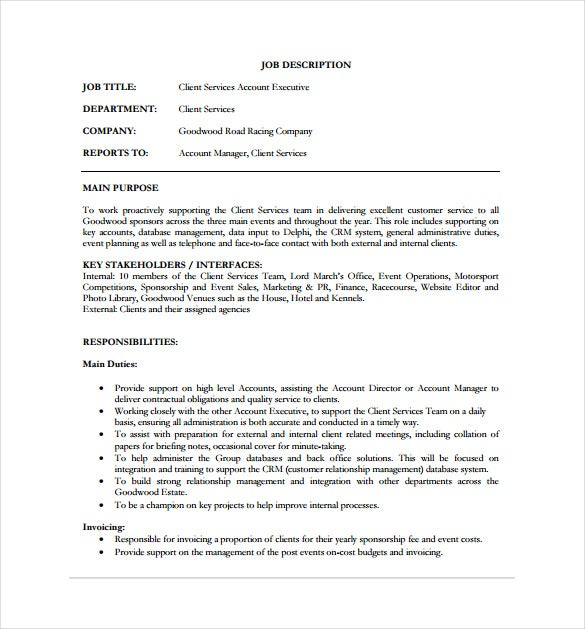 Client Services Account Executive Job Description PDF Format Free Download