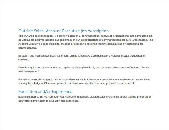 11 Account Executive Job Description Templates Free Sample