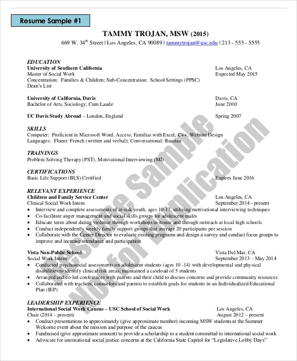 social work resume - Sample Work Resume