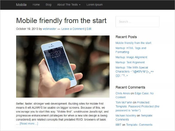 free mobile wordpress theme