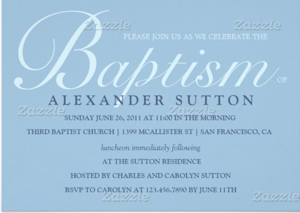 simple blue baptism christening invite