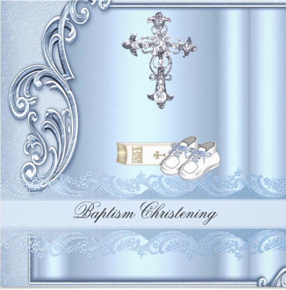 baptism blue cross boy damask christening invitation