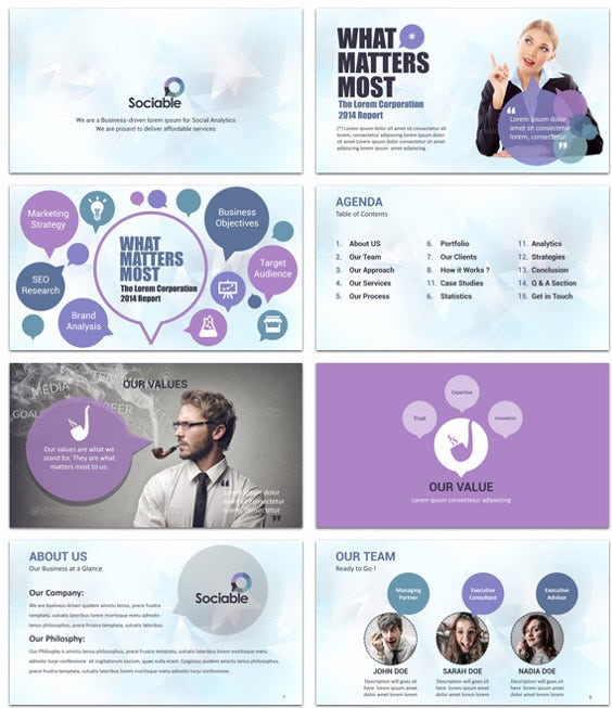 sociable dashboard powerpoint template