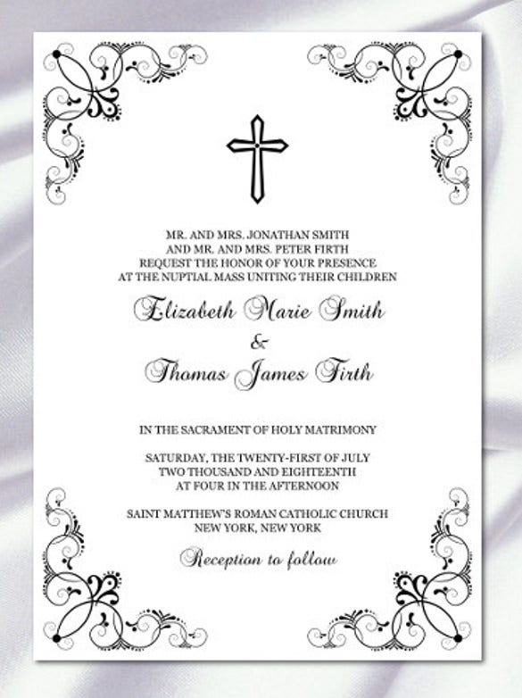 CatholicWedding Invitation Template, Diy Printable Black And White  Invitations, Baptism  Free Invitation Design Templates
