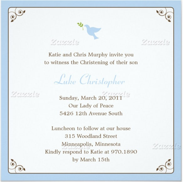 blue dove baptism christening invitation