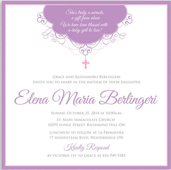 30  baptism invitation templates  u2013 free sample  example