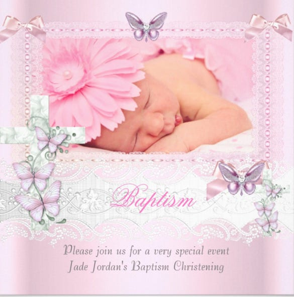baptism pink lace photo butterfly cross girl invitation