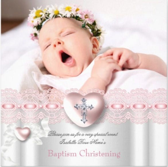 Baptism Pink Silver Photo Heart Cross Invitation