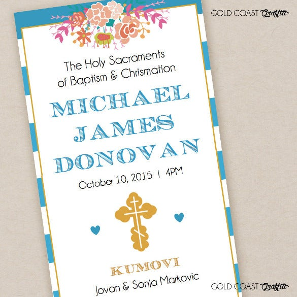 baptism program template navy blue stripe