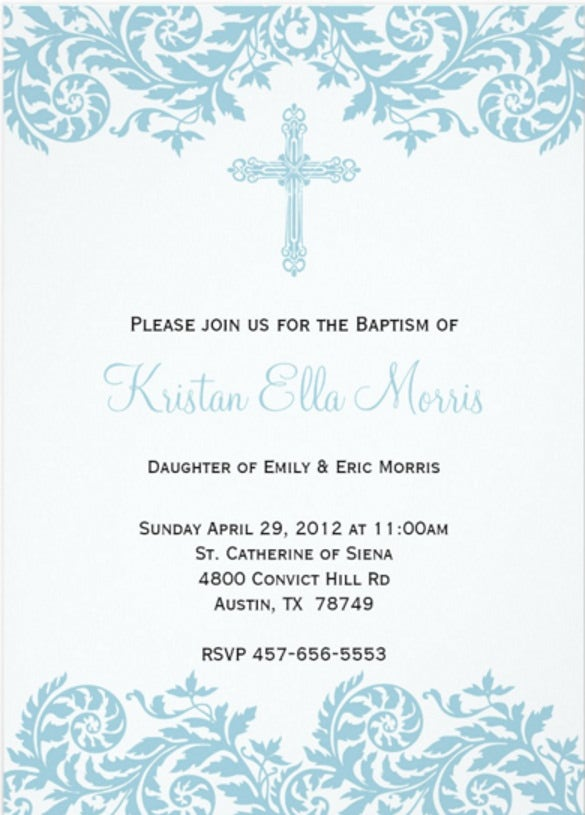 damask christening baptism invitation