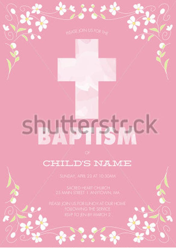 pink girls baptism christening first communion confirmation invitation
