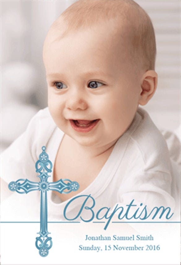Boy Printable Baptism Christening Invitation Template