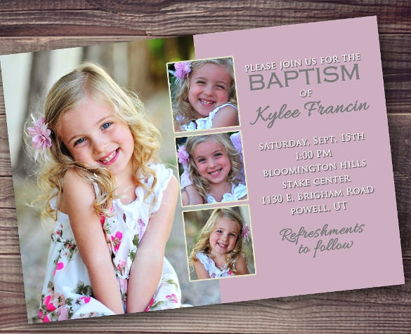 customized baptism invitation girl baptism invitation