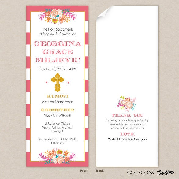 baptism program template pink stripe