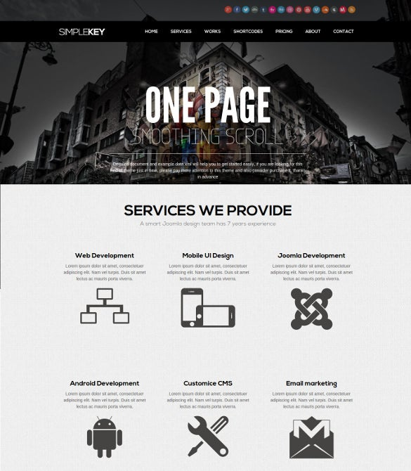 one page responsive mobile joomla template