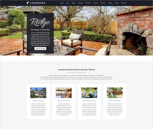 joomla real estate landing page template