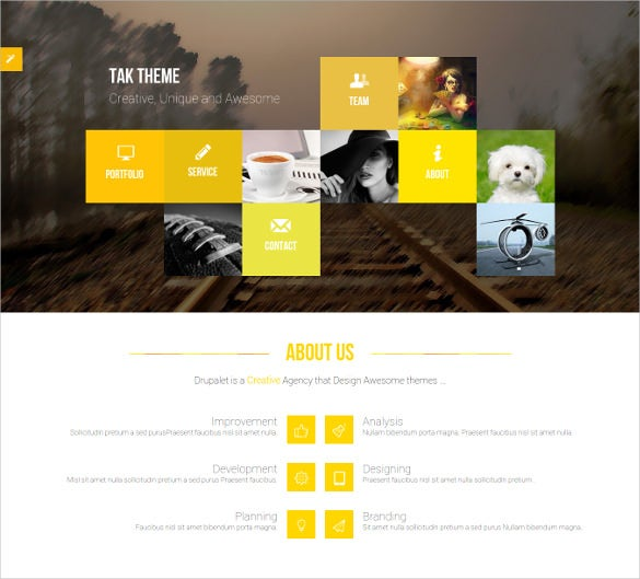 responsive onepage portfolio drupal mobile template