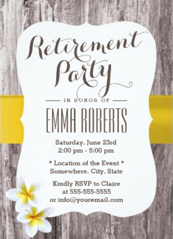16 retirement invitation templates free sample example format classy frangipani wood background retirement party 57 paper invitation card stopboris Gallery