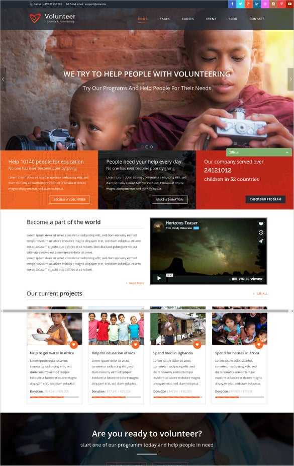 volunteer charity html5 website template
