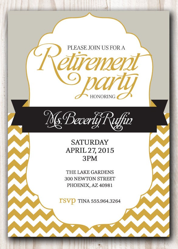 retirement party invitation gold and silver or pick any color accent
