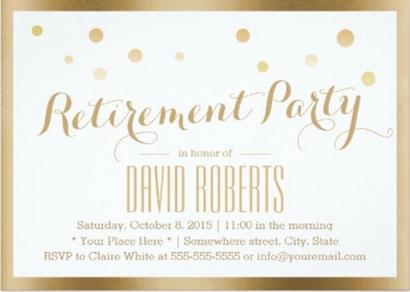 gold framed confetti dots retirement party 5x7 paper invitation card