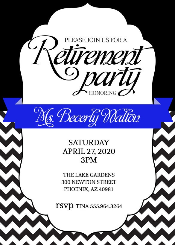 retirement party invitation royal blue or pick color combo or accent chevron
