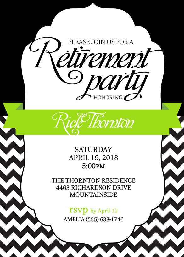 retirement party invitation apple green and black or pick any color accent – chevron